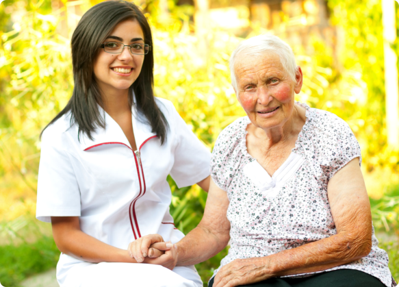an elderly and her caregiver