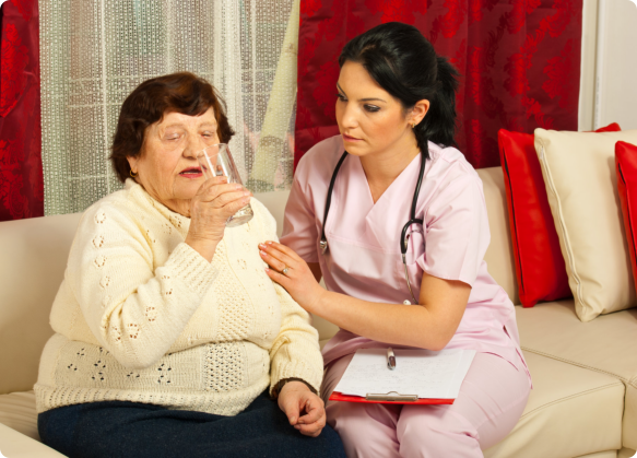 the caregiver assisting the elderly