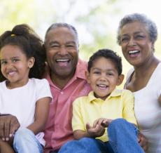 elderly couple and their grandchildren